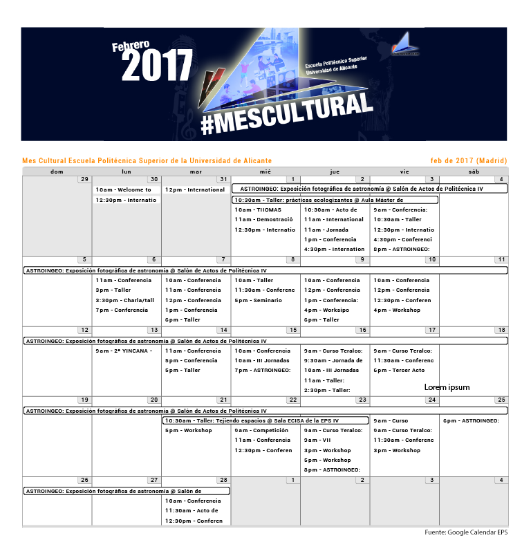 EPS calendario de actividades