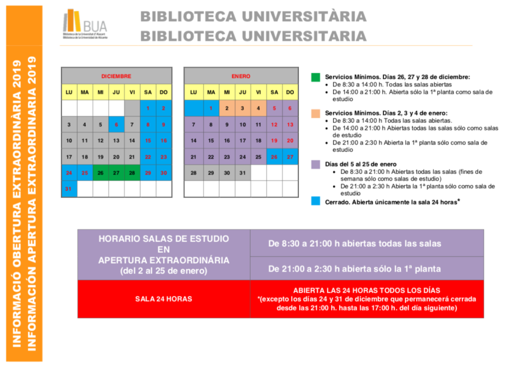 Horarios Biblioteca Universitaria.